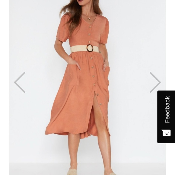 Nasty Gal Dresses & Skirts - NEW Nasty Gal Button down linen Midi Dress Small